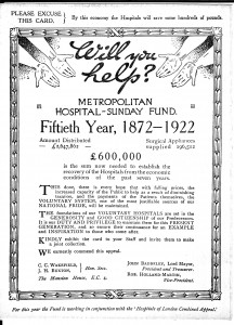 Hospital Sunday Appeal flyer from 1922