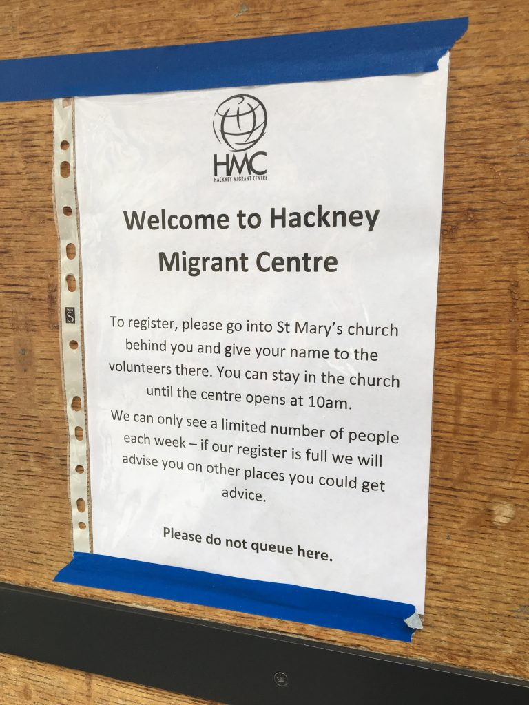 Welcome sign - Hackney Migrant Centre
